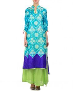 Turquoise Tunic with Shibori Prints