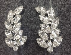 Weiss Signed Vintage Brilliant Clear Rhinestone Clip Earrings Bridal Prom #Weiss #Cluster