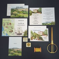 Bespoke invitation set by Lucy Says I Do. The couple were married at the beautiful Ville Terre di Nano in Tuscany and their stationery was in the style of a vintage travel poster with villa views, illustrations of the church and the venue incorporated into the design. #tuscany #LSIDdesign #bespokedesign #bespokeweddingstationery