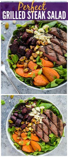 Perfect Grilled Steak Salad with Roasted Rainbow Veggies.