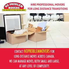 Hire Professional Movers for Long Distance Transitions. Contact NoProblemMovers for Long Distance Moves Across Canada. We can Manage Moves, both Small and Large, at any Level of Complexity. Office Moving, Moving Day, Office Relocation, Local Movers, Professional Movers, Service Quotes, Packing To Move, Moving Boxes, Packers And Movers