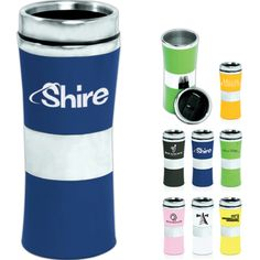 15 oz stainless travel mug with a rainbow of colors! Custom Travel Mugs, Insulated Mugs, Acrylic Tumblers, Wall Insulation, Porcelain Mugs, Stainless Steel Travel Mug, Drinkware, Giveaways, Flask