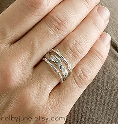 Sterling Silver Twig Ring by ColbyJuneJewelry on Etsy