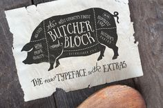 another carefully hand-made, quirky, versatile font, crafted with love • Available here → https://creativemarket.com/Nickylaatz/57656-Butcher-Block-Typeface-Extras?u=pxcr