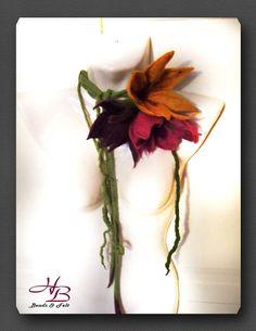 Zarcillo flores joyería collar de cuello fieltro por Schmuckidee24, $49.95