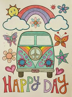 Hippie Van from Thaneeya McArdle's Don't Worry Be Happy Coloring Book Mode Hippie, Hippie Art, Hippie Life, Hippie Peace, Happy Hippie, Bus Cartoon, Indian Folk Art, 6 Photos, Coloring Books