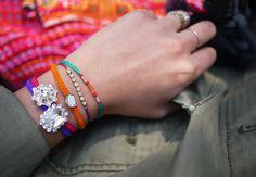 DIY Bracelet : DIY Macrame Rhinestone Bracelet