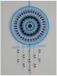 Mandala acchiappasogni ad uncinetto by https://www.facebook.com/creareconpassioneeamore/ … #crochet #lemaddine #handmade #mandala