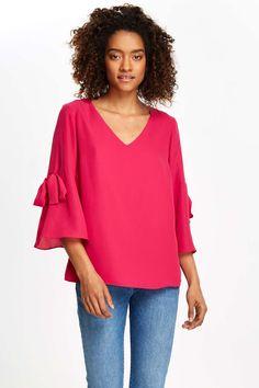 Hot Pink Tie Blouse - Tops - Clothing - Wallis Europe