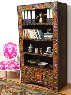 antique-look Hand Carved orient vintage wooden bookshelf shelf from Afghanistan With relief Mogul miniature painting