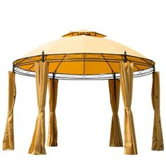 Sunny Outdoor Patio Party Canopy With Curtains Ft. W x Ft.D Metal Portable Gazebo Patio Tents, Gazebo Canopy, Gazebo Pergola, Outdoor Gazebos, Garden Gazebo, Canopy Outdoor, Pergola Shade, Gazebo Ideas, Garden Canopy