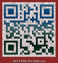 Becky Harmon's SUCCESS not Sabotage Products page is opened with this QR code [NOTE: Becky just revamped her website, so the code has to be updated with a new URL]