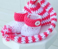Crocheted baby pixie hat and booties set in by ValkinThreads, $34.00