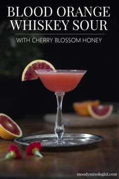 Blood Orange Whiskey Sour with Cherry Blossom Honey - Moody Mixologist Blood Orange Cocktail, Blood Orange Juice, Margarita Recipes, Cocktail Recipes, Drink Recipes, Vodka Lime, Lime Juice, Honey Syrup, Whiskey Sour