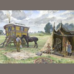 Dame Laura Knight, R.A., R.W.S. (British, 1877-1970) Gypsy Wagon and Tent 55.2 x 76.2 cm. (21 3/4 x 30 in.) Estimate: £15,000 - 20,000 €18,000 - 24,000 US$ 24,000 - 32,000