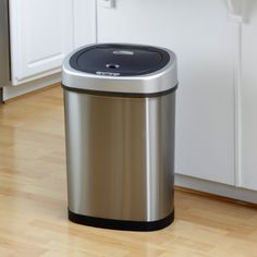 Nine Stars DZT-42-9 Touchless Stainless Steel 11.8 Gallon Trash Can, Grey