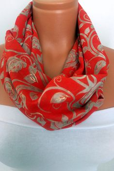 Silk Chiffon Scarf Infinity Scarf Red and Gold by SuHandmadeStore