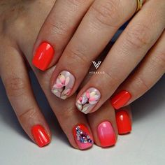Acid nails, Bright orange nails, Evening nails, flower nail art, Ideas of gradient nails, Nails ideas with flowers, Neon nails, Obmre nails