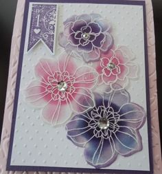 Floral Fusion Secret Garden on Vellum-The card base, Pink Pirouette embossed w Modern Mosaic EF. Layers  in Elegant Eggplant, Whisper White. Vellum flowers from Secret Garden stamped in Versa Mark and embossed w White EP. Cut out w Secret Garden Framelits. Ink added on reverse w sponge dauber in Rose Red, Elegant Eggplant inks, finished w basic Rhinestones. Sentiment from Affection Collection (r) . Flowers mounted on card front with glue dots.