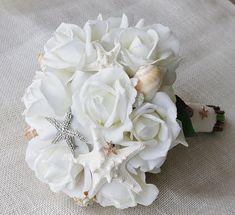 Strand Elfenbein Seide Brosche Hochzeit Bouquet - Seestern Strand Natural Touch Rosen Juwel Braut Strauß - Strass
