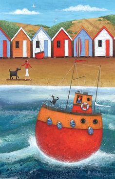 A Walk On The Beach Print by Peter Adderley Seaside Art, Beach Print, Naive Art, Beach Walk, Whimsical Art, Home Art, Art Drawings, Folk, Illustration Art