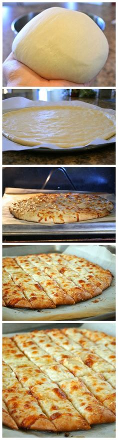 This is my favourite pizza dough! Fail-Proof Pizza Dough and Cheesy Garlic Bread Sticks - Best Healthy Italian Recipes for Dinner I Love Food, Good Food, Yummy Food, Yummy Snacks, Healthy Snacks, Food For Thought, Cheesy Garlic Bread, Garlic Pizza, Garlic Breadsticks