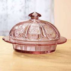 Vintage Glass Butter Dish | Vintage look antique style pink glass depression glass butter dish new