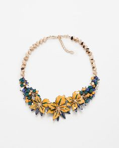 Image 1 of FLORAL CRYSTAL NECKLACE from Zara