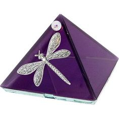 "2"" Purple Dragonfly Art Glass Pyramid * Energizing Charging Box"