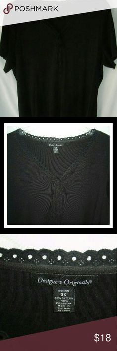 Black Lace_Up & Tie Front Embellished Top Beautiful v-neck black embellished top with short sleeves. Eyelet lace trim at neck and crochet trim on bottom of hemline. Lace up tie front see photos for detail. 40% poly. Measurements armpit to armpit approximate 26in. Blank the proximate 25 inches. Washed but never worn.New Designers Originals Tops Blouses