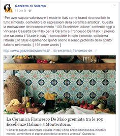 Ceramica Francesco De Maio   Premio prestigioso  made In Italy  #100eccellenze   rassegna stampa   #ceramicafrancescodemaio #madeinItaly