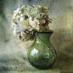 """Hydrangea in a Green Vase"" - Pintura de Kerstin Frank"