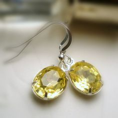 Amber Yellow Earrings Vintage Yellow Golden Topaz by pink80sgirl, $19.00