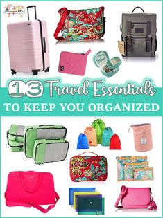 13 TRAVEL ESSENTIALS TO KEEP YOU ORGANIZED: Do you struggle with organization and feel like you're losing your mind trying to keep up with everything while traveling? Try using some of these travel essentials to help keep you sane on your next trip. Packing List For Travel, Packing Tips, Travel Bags, Travel Items, Travel Stuff, Travel Must Haves, Travel Gadgets, What To Pack, Travel Advice