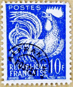 french stamp France 10 f chicken cock rooster postage poste timbre Republique Francaise