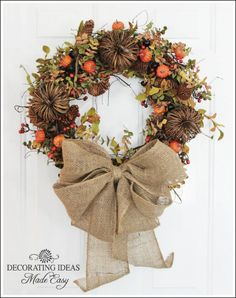 "Fall Wreath With Burlap Bow From DIY User ""decorating-ideas"""