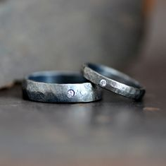 Hammered and darkened sterling silver ring band set by 2TrickPony