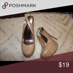 Nude Heels Charlotte Russe brand, nude patent leather heels. With strap in the back. Size 8. Charlotte Russe Shoes Heels