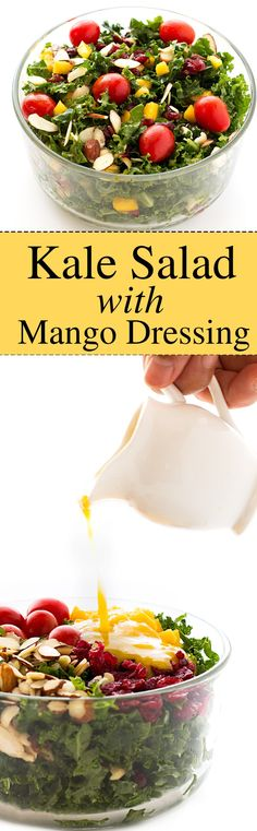 kale-salad-mango-salad-dressing. Healthy raw kale salad recipe with homemade mango salad dressing. The salad includes fresh curly kale, tomatoes, mangoes, dried cranberries and silvered almonds.