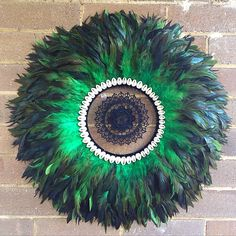 Juju hat tribal wall feather art decoration , designed by dusty treasures home decor
