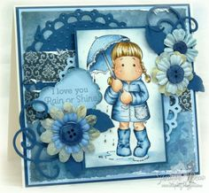 Scrap Bitz - love the blues!  Tilda in Spring Rain from Chasing butterflies collection from Magnolia stamps