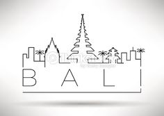 Vector Art : Bali City Line Silhouette Typographic Design