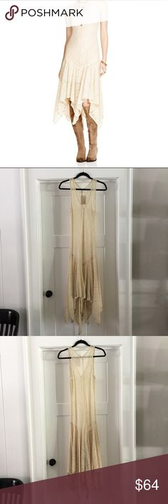 """Free People Lila Love Lace Maxi This item is NWT, never worn. Retails for $ 98. * Scoop neck, sleeveless, drop waist, sheer lace * Flounced handkerchief hem, midish length. XS. 58"""" at Longest point. 16.5"""" bust. No slip, sold without on originally. Small open hole in lace under right armhole seam. Pictured. Free People Dresses Maxi"""