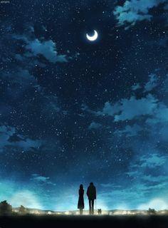 Cuando mirábamos la luna juntos , no podía evitar quedarme viéndote a ti , siempre te dije que eras más bonita que la luna misma y lo mantengo , mirarte viendo la luna , mirarte mientras no lo notabas ... Anime Galaxy, Kimi Ni Todoke, Manga Art, Gifs, Paisajes Anime, Anime Scenery, Digital Art, Cool Art, Amazing Art
