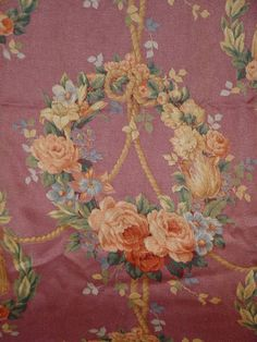 Vintage Barkcloth Roses Fabric Curtain Panel by SimplyCottageChic, $135.00