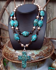 Cowgirl Western Chunky Rodeo Queen Necklace - All In Good Faith on Etsy Cowgirl Bling, Cowgirl Jewelry, Western Jewelry, Boho Jewelry, Beaded Jewelry, Silver Jewelry, Jewelry Accessories, Beaded Necklace, Jewelry Design