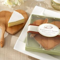 Mini Bamboo Cheese Board and Spreader Set @ http://www.beau-coup.com/wedding/mini-bamboo-cheese-board-and-spreader-set.htm