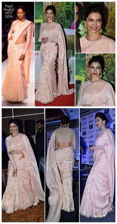 Yay or Nay : Deepika Padukone in Payal Singhal. Indian Dresses, Indian Outfits, Indian Saris, Saree Dress, Dhoti Saree, Patiala Suit, Silk Sarees, Sari Design, Rajputi Dress