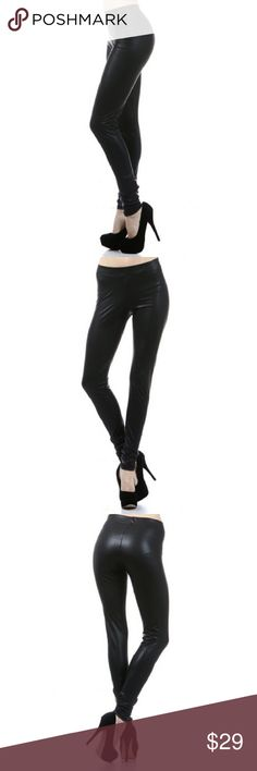 BRAND NEW Black faux leather leggings Black faux leather leggings. These look great with just about anything- pair it with a plain t-shirt for a casual look, or add a blazer and some heels and you're ready for work! Polyester/spandex blend. Brand new. Pants Leggings