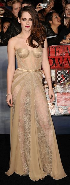 Kristen Stewart in a sheer Zuhair Murad dress.
